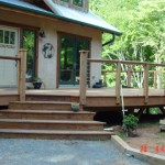 Curved cedar deck detail
